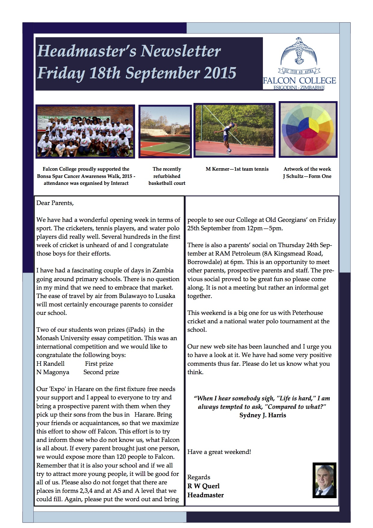 Headmaster's Newsletter Fri 18th Sept 2015 edited