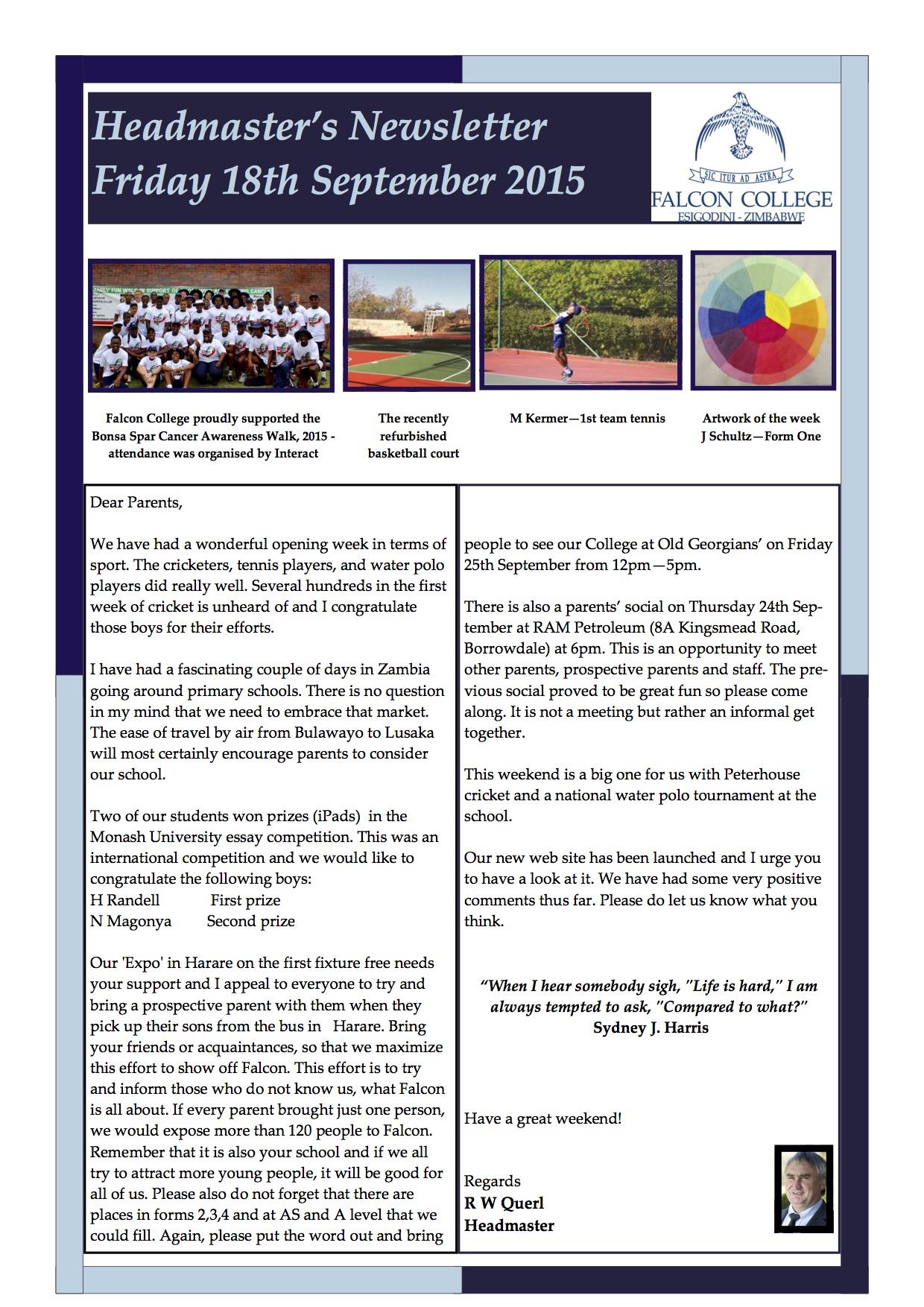 Headmaster's Newsletter Fri 18th Sept 2015 edited