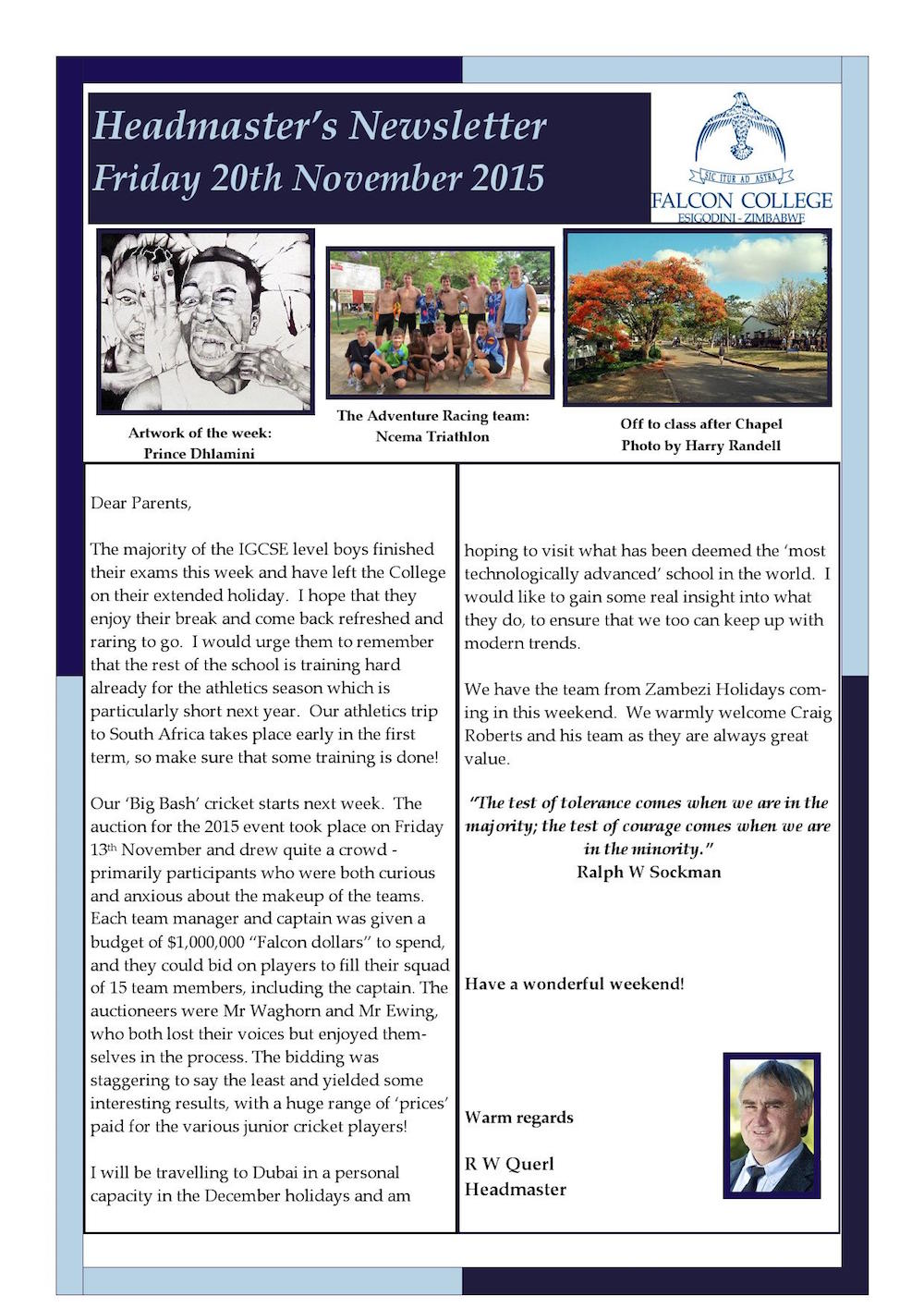 Headmaster's Newsletter Friday 20th November 2015 edited_1