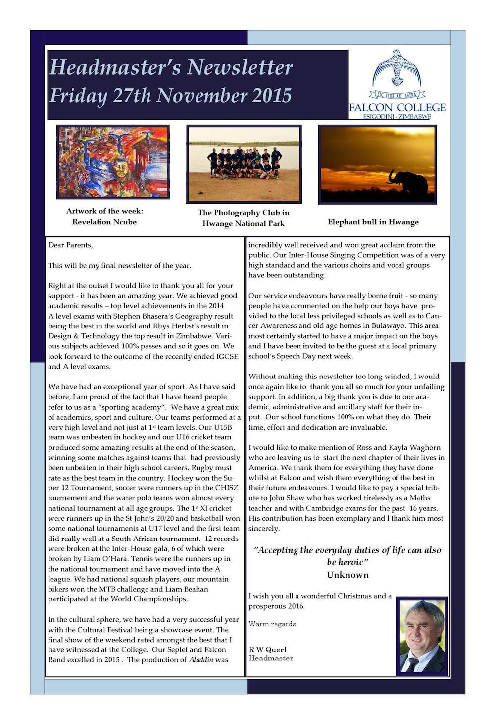 Headmaster's Newsletter Friday 27th November 2015 edited_000001