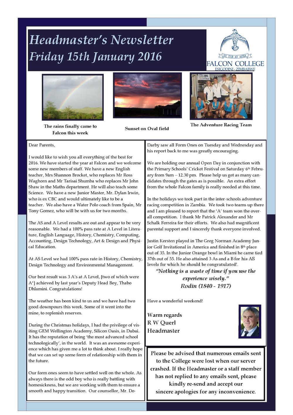Headmaster's Newsletter Friday 14th January 2016edit_000001