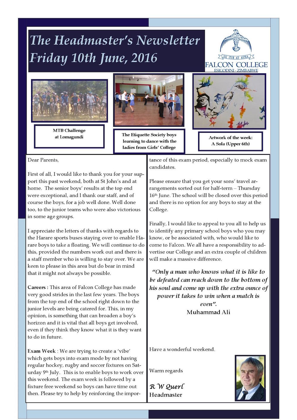 Headmaster's Newsletter - Friday 10th June '16_000001