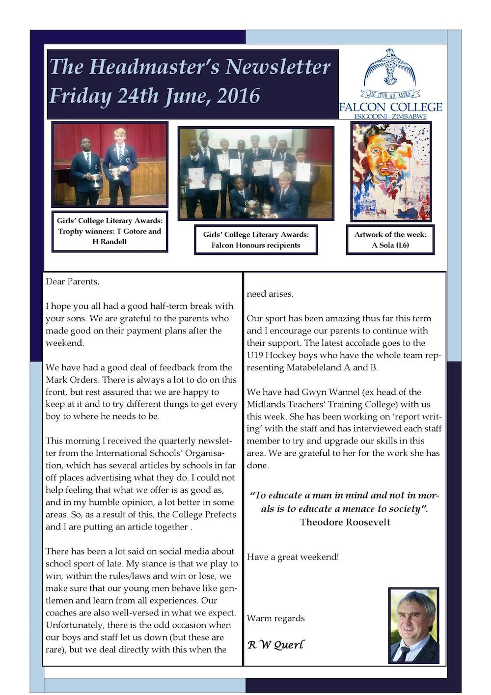 Headmaster's Newsletter Friday 24th June 2016 edited_000001