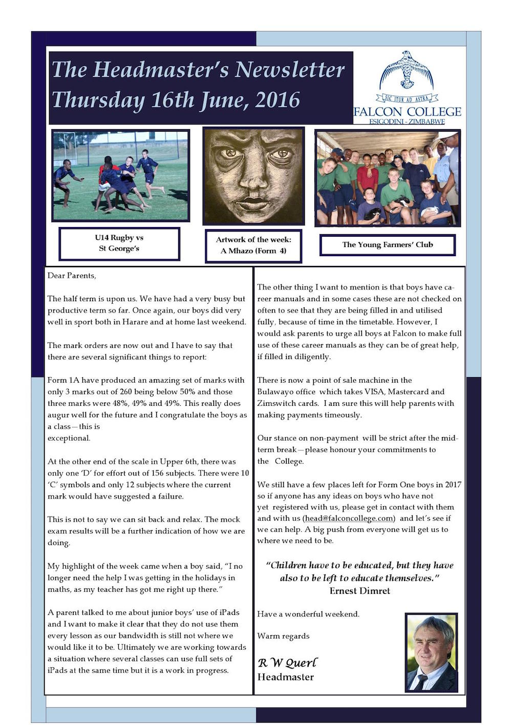Headmaster's Newsletter Thursday 16th June 2016 edited_000001