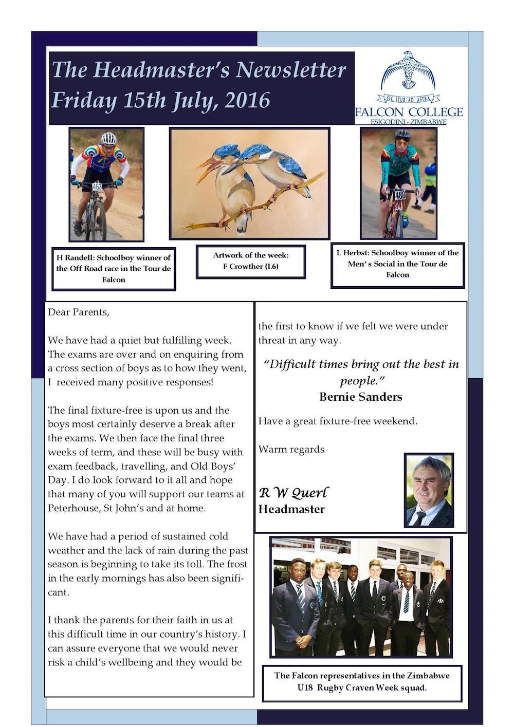 Headmaster's Newsletter Friday 15th July 2016 edited_000001