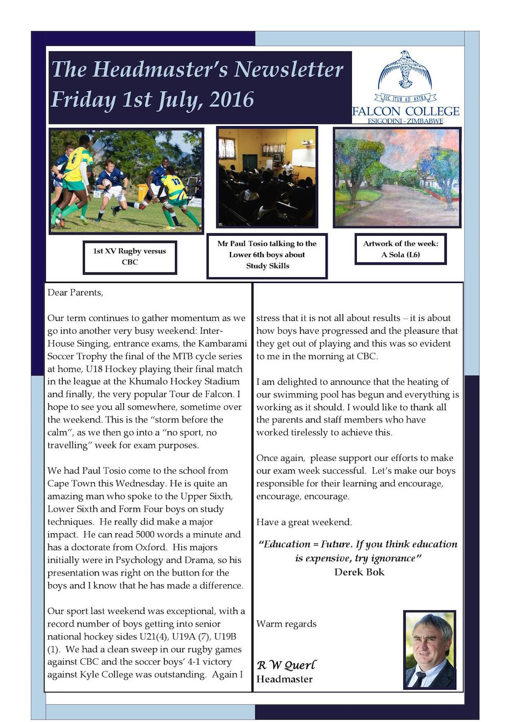 Headmaster's Newsletter Friday 1st July 2016  edited_000001