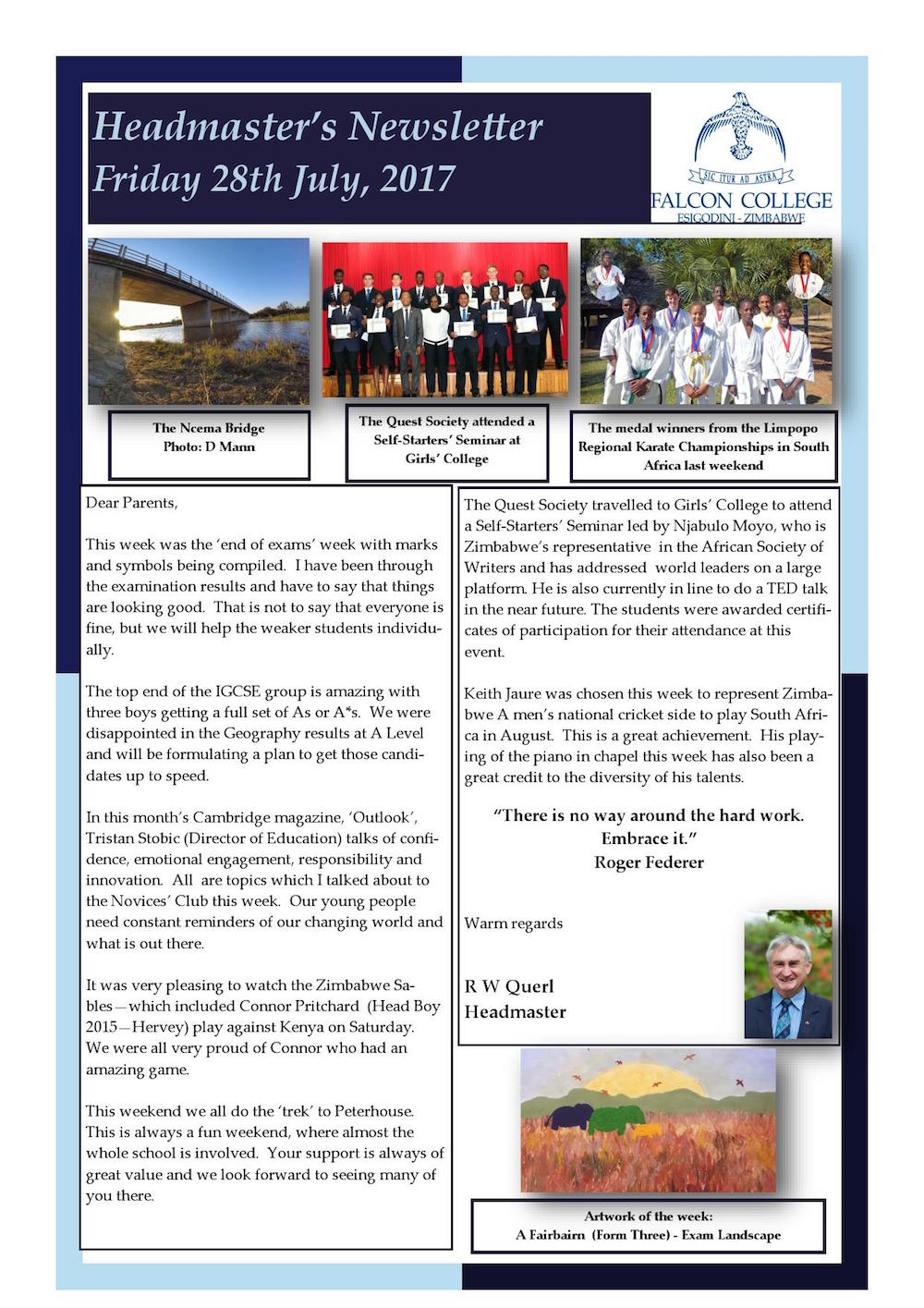 Headmaster's Newsletter - Friday 28th July 2017   Falcon College