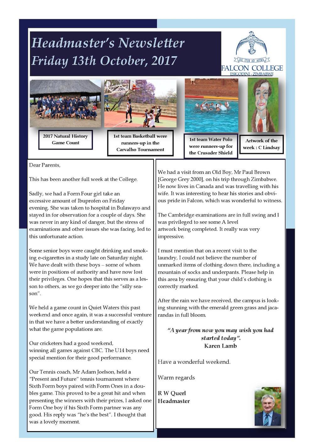 Headmaster's Newsletter - Friday 13th October 2017 | Falcon