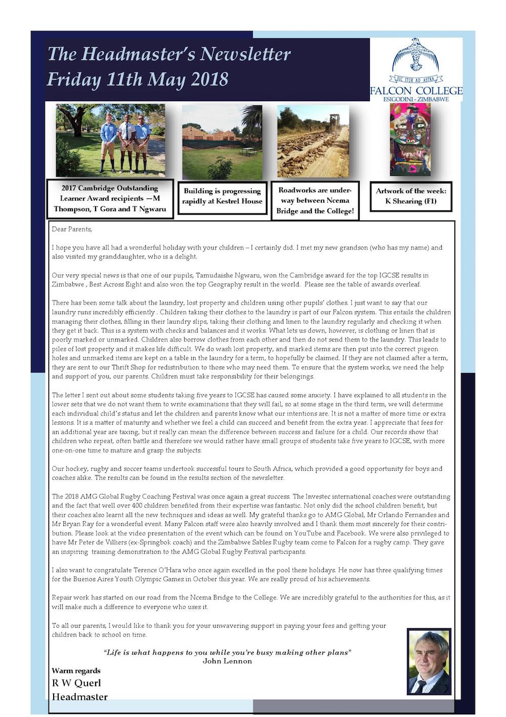 Newsletter Excerpts  Page   Falcon College  Zimbabwe