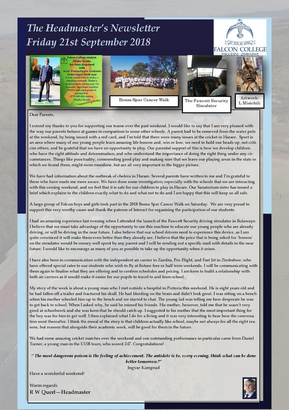 newsletter excerpts falcon college zimbabwe