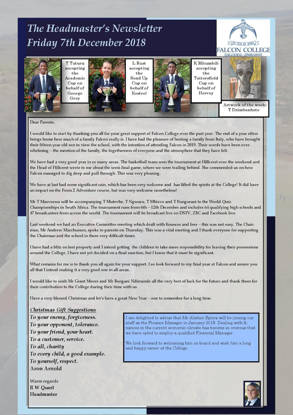 newsletter excerpts falcon college zimbabwe